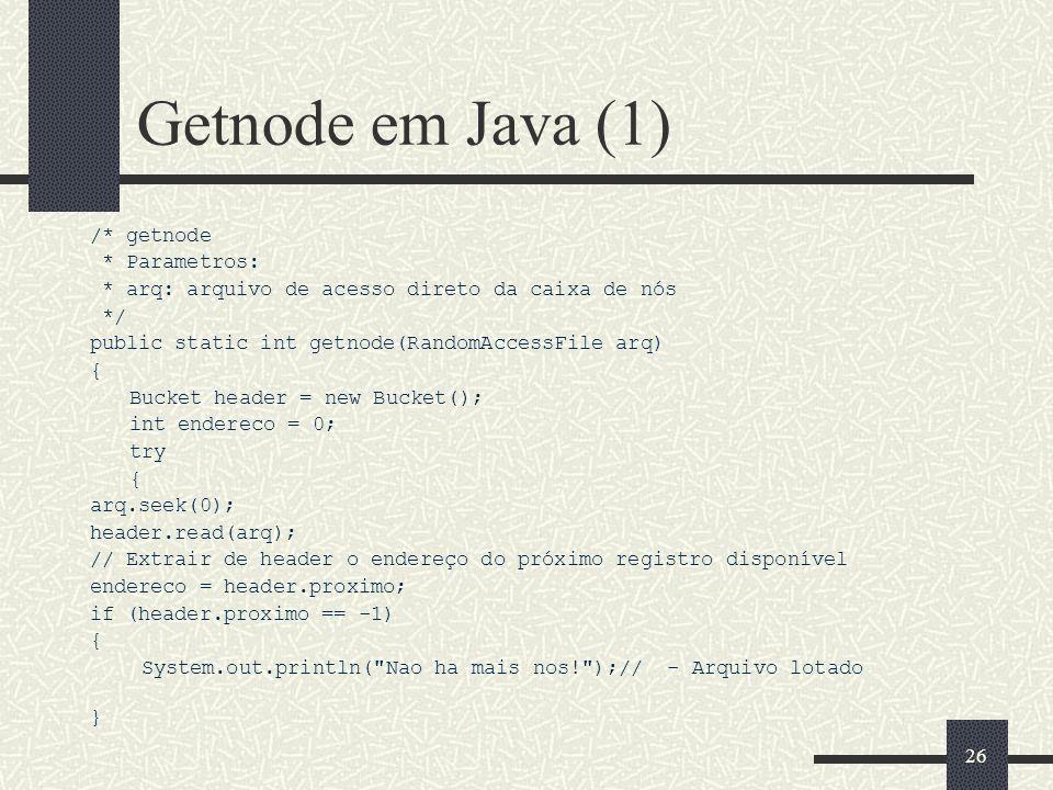 Getnode em Java (1) /* getnode * Parametros: