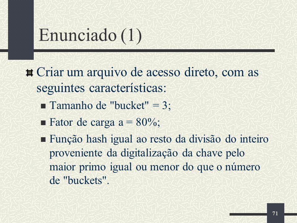 Enunciado (1) Criar um arquivo de acesso direto, com as seguintes características: Tamanho de bucket = 3;