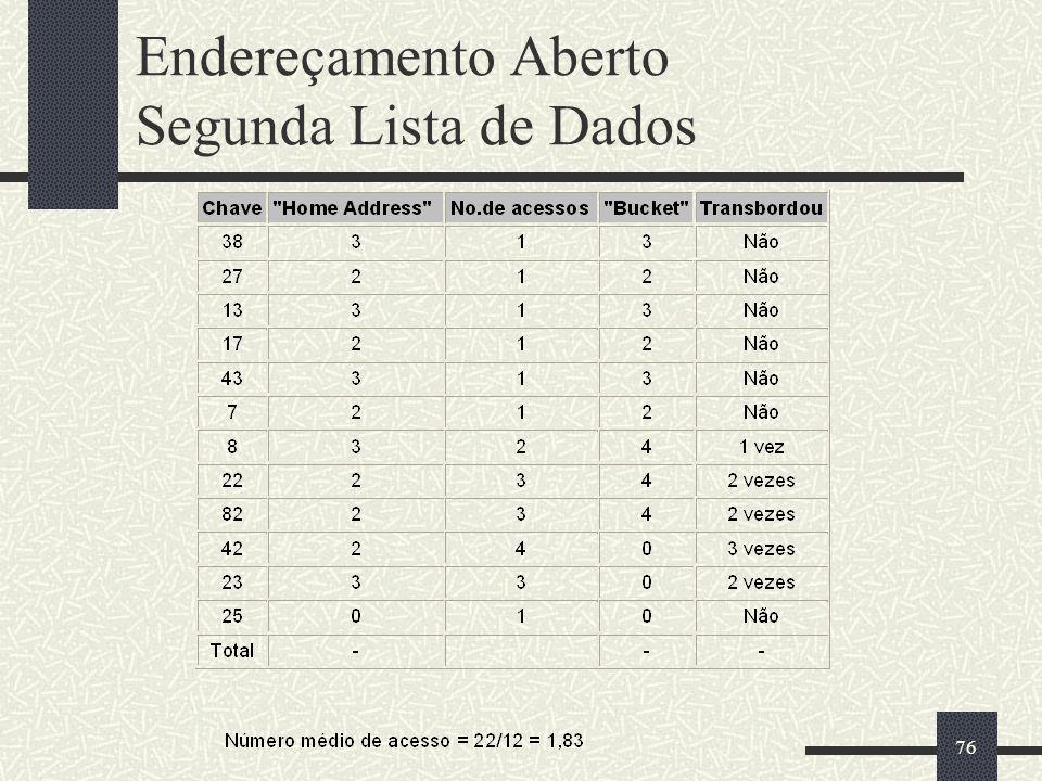 Endereçamento Aberto Segunda Lista de Dados