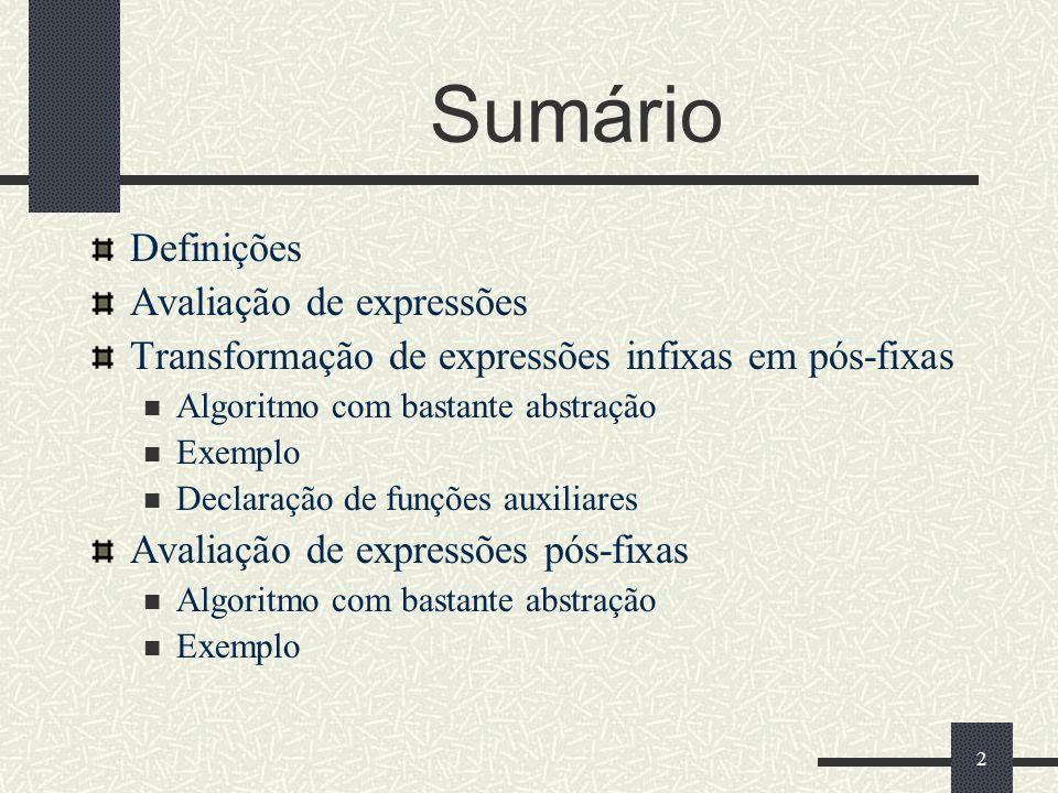 Sumário Definições Avaliação de expressões