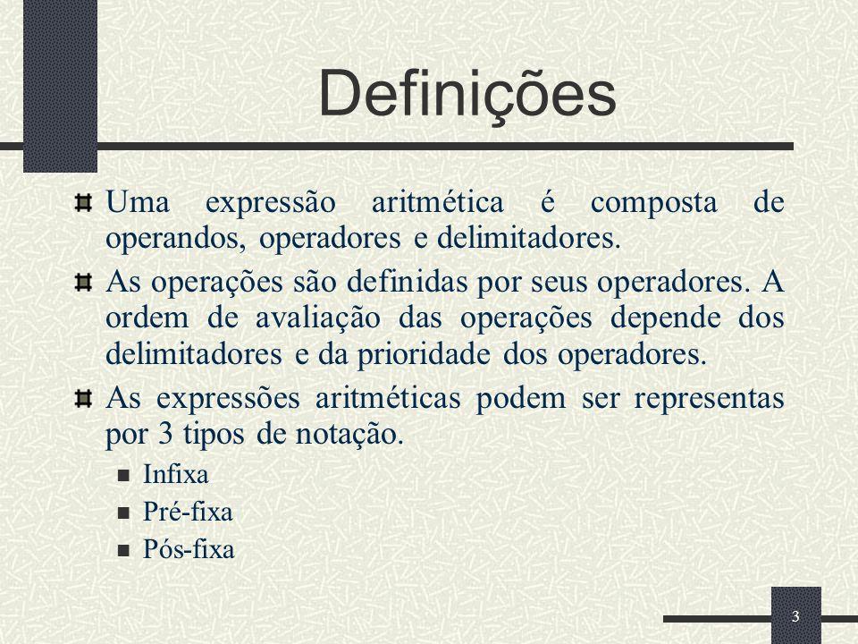 Definições Uma expressão aritmética é composta de operandos, operadores e delimitadores.