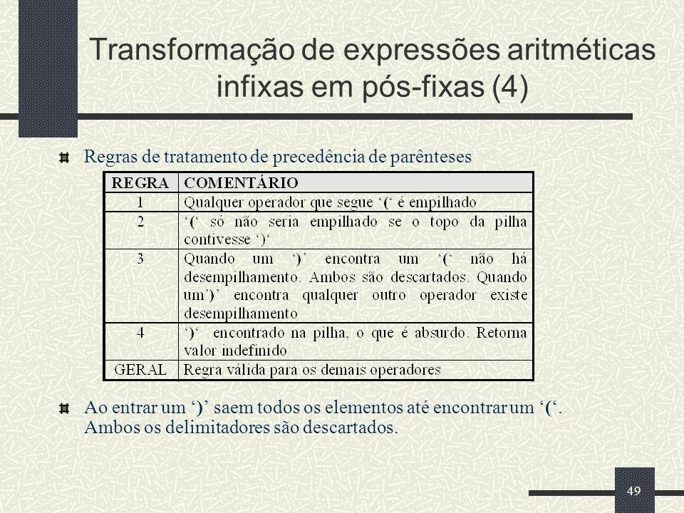 Transformação de expressões aritméticas infixas em pós-fixas (4)