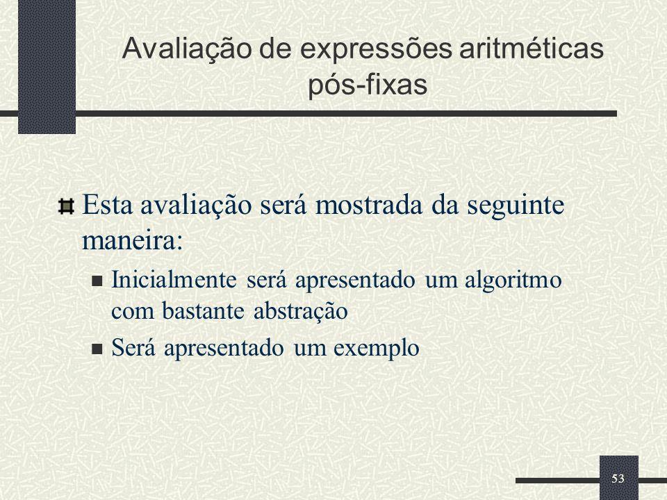 Avaliação de expressões aritméticas pós-fixas