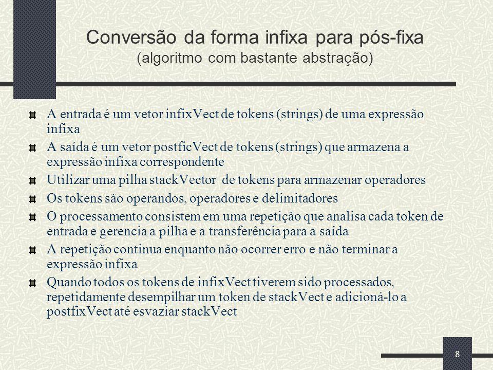 Conversão da forma infixa para pós-fixa (algoritmo com bastante abstração)