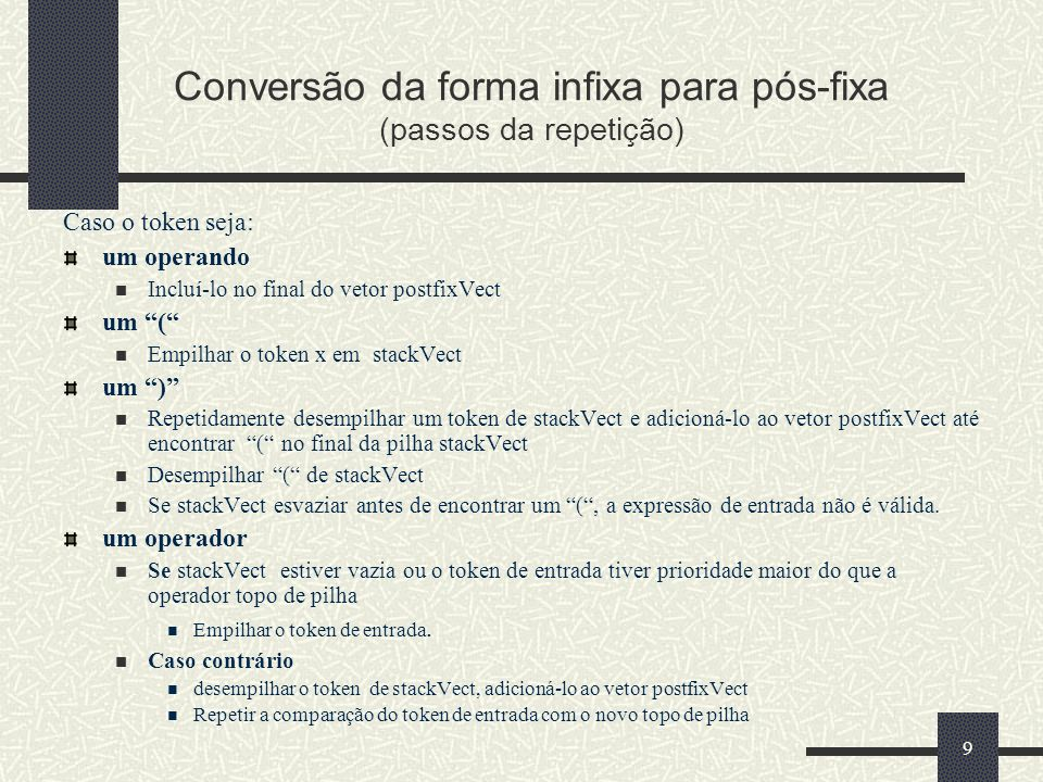 Conversão da forma infixa para pós-fixa (passos da repetição)