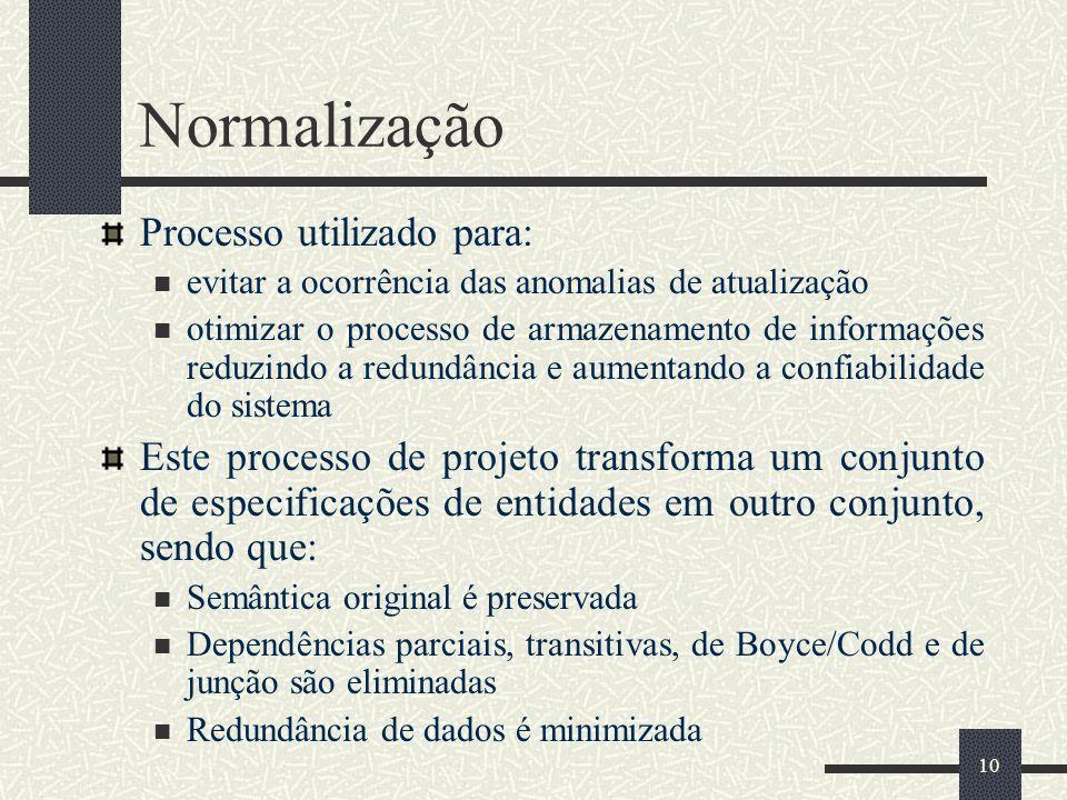 Normalização Processo utilizado para: