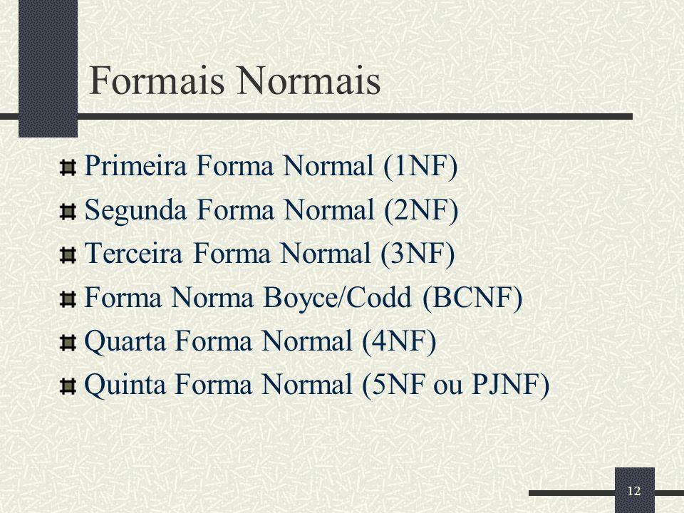 Formais Normais Primeira Forma Normal (1NF) Segunda Forma Normal (2NF)
