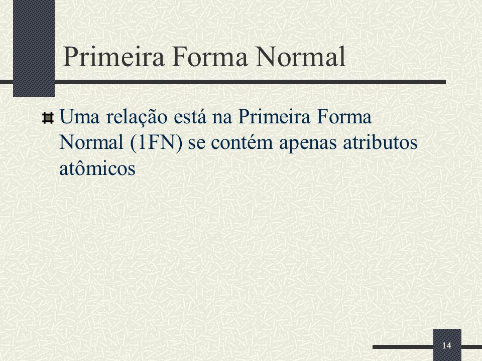 Primeira Forma NormalUma relação está na Primeira Forma Normal (1FN) se contém apenas atributos atômicos.