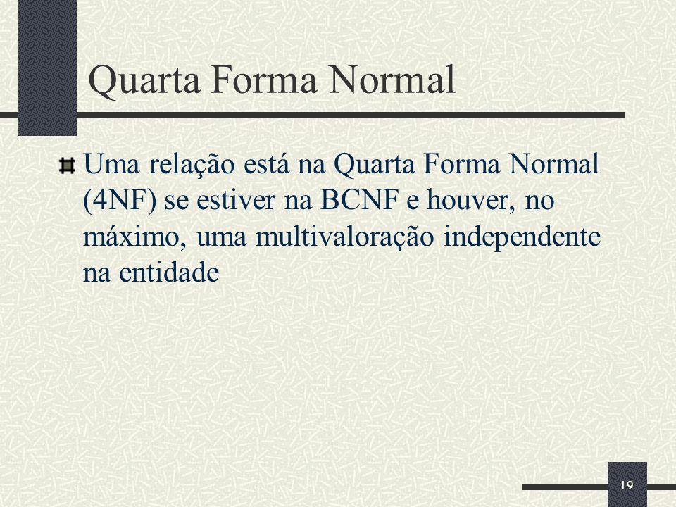 Quarta Forma NormalUma relação está na Quarta Forma Normal (4NF) se estiver na BCNF e houver, no máximo, uma multivaloração independente na entidade.