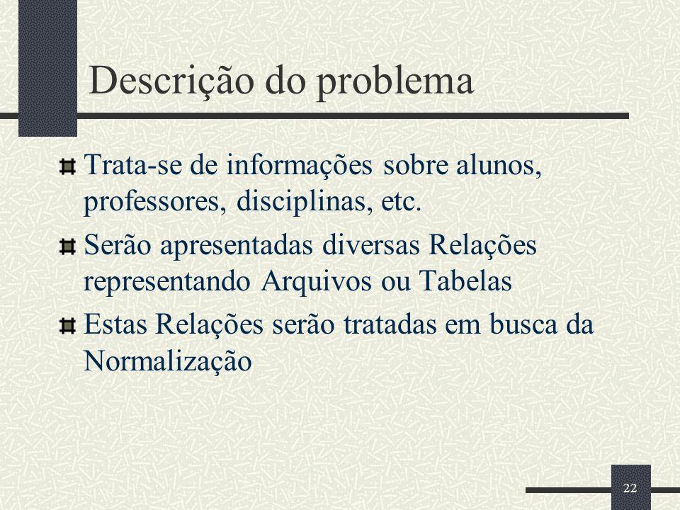 Descrição do problema Trata-se de informações sobre alunos, professores, disciplinas, etc.