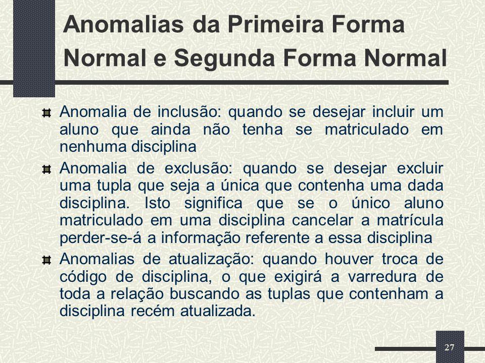 Anomalias da Primeira Forma Normal e Segunda Forma Normal