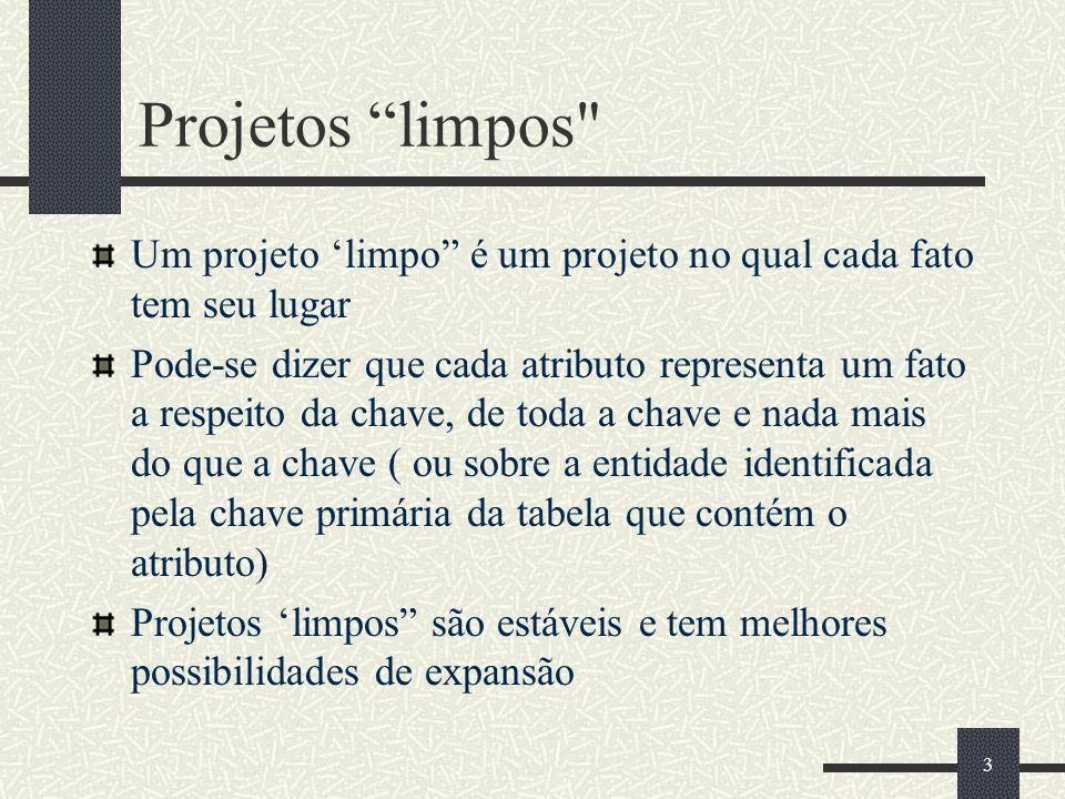 Projetos limpos Um projeto 'limpo é um projeto no qual cada fato tem seu lugar.