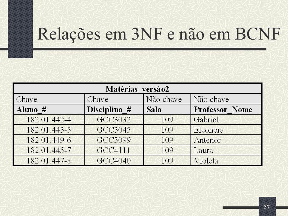 Relações em 3NF e não em BCNF