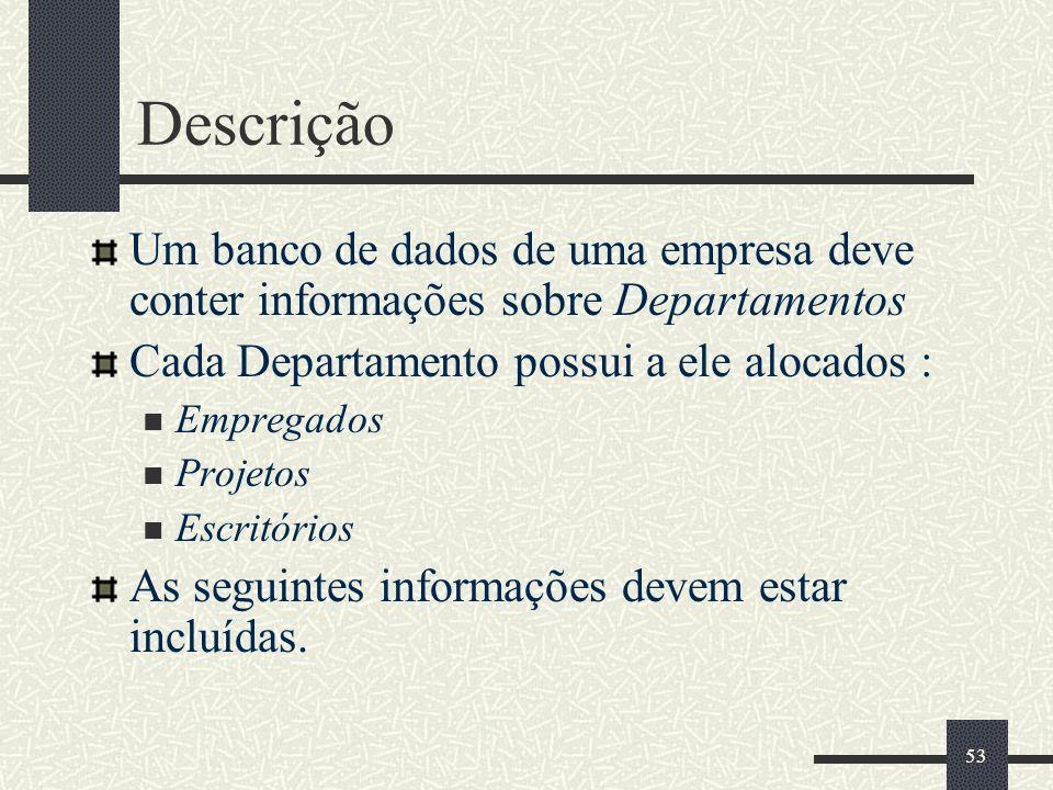 DescriçãoUm banco de dados de uma empresa deve conter informações sobre Departamentos. Cada Departamento possui a ele alocados :