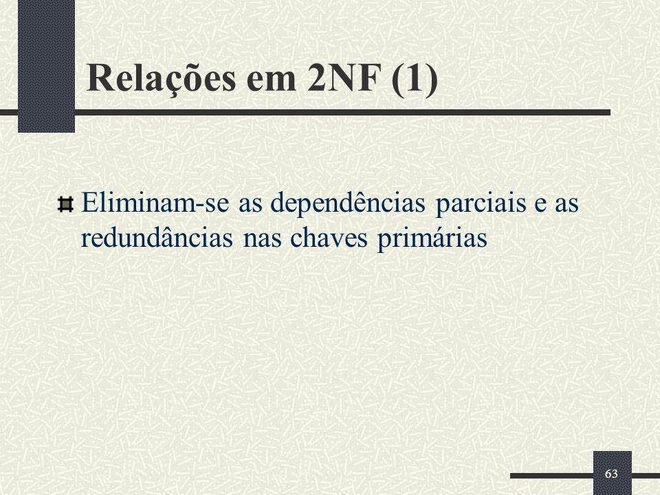 Relações em 2NF (1) Eliminam-se as dependências parciais e as redundâncias nas chaves primárias