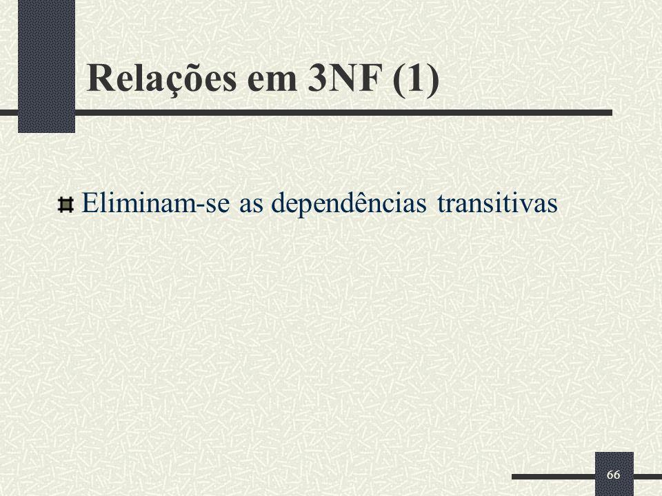 Relações em 3NF (1) Eliminam-se as dependências transitivas