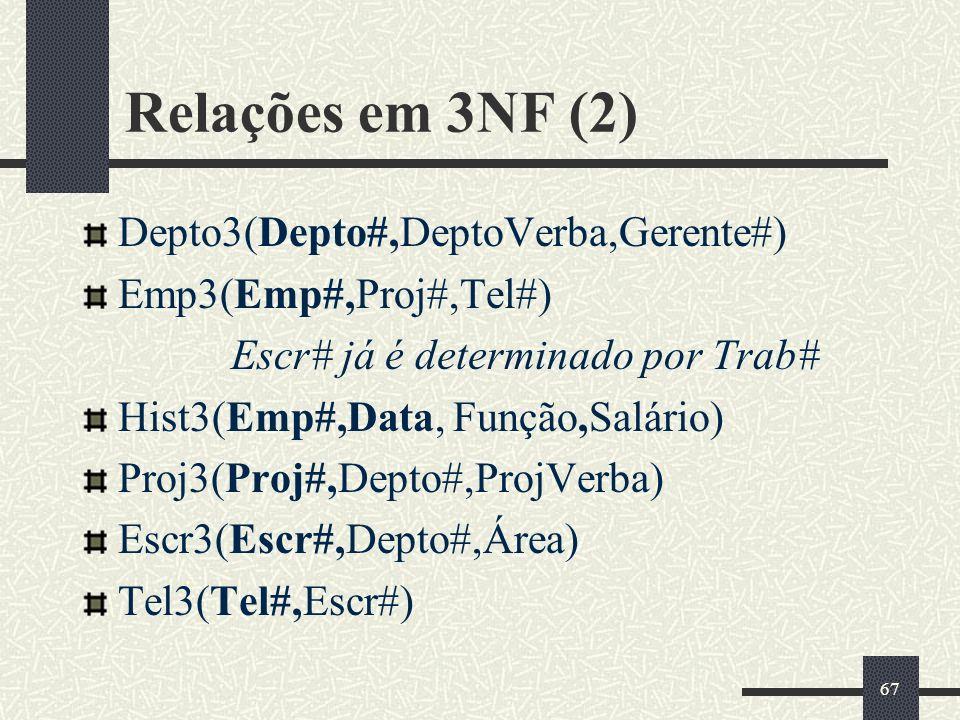 Relações em 3NF (2) Depto3(Depto#,DeptoVerba,Gerente#)
