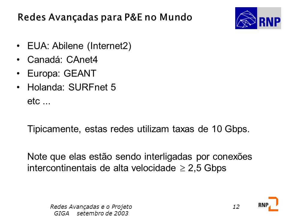 Redes Avançadas para P&E no Mundo