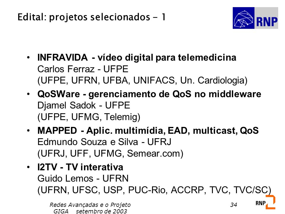 Edital: projetos selecionados - 1