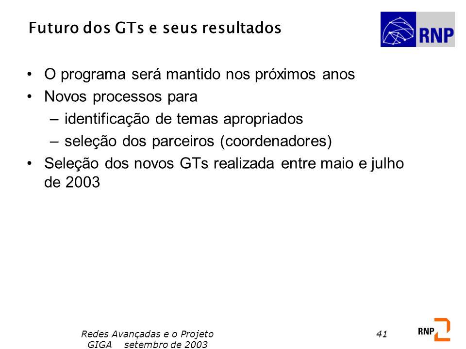Futuro dos GTs e seus resultados