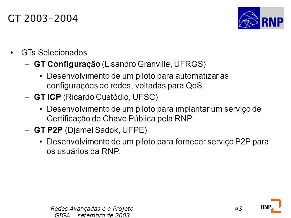 Redes Avançadas e o Projeto GIGA setembro de 2003