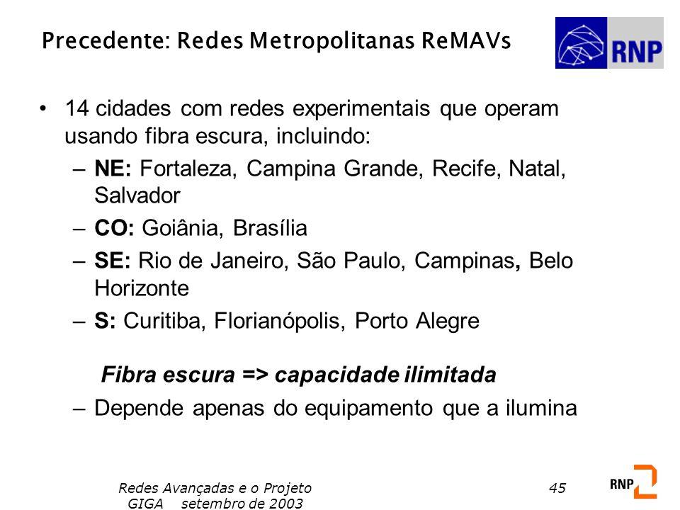 Precedente: Redes Metropolitanas ReMAVs