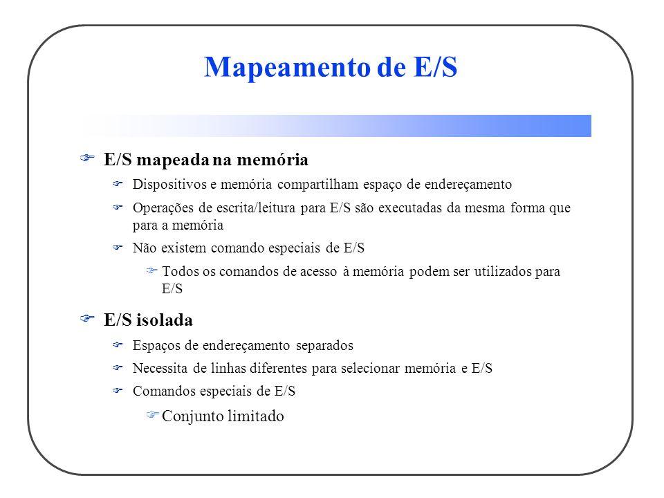 Mapeamento de E/S E/S mapeada na memória E/S isolada Conjunto limitado