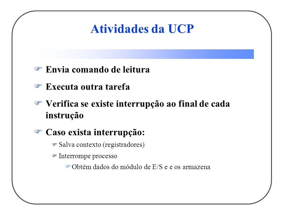 Atividades da UCP Envia comando de leitura Executa outra tarefa