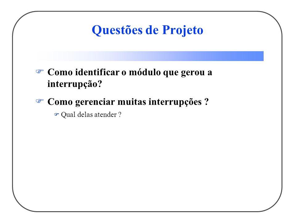 Questões de Projeto Como identificar o módulo que gerou a interrupção