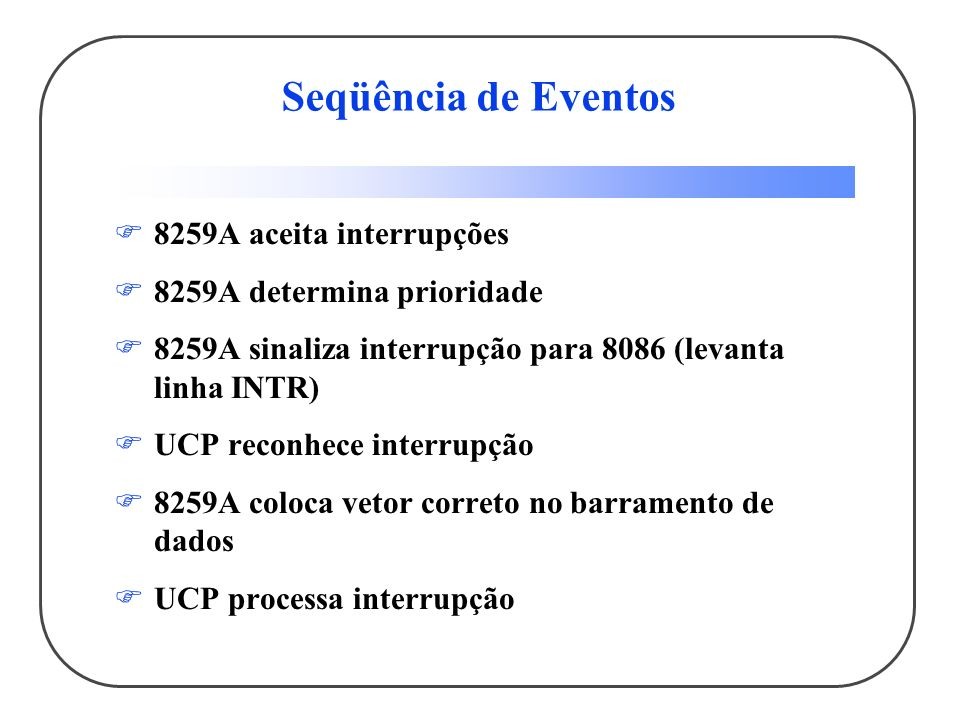 Seqüência de Eventos 8259A aceita interrupções