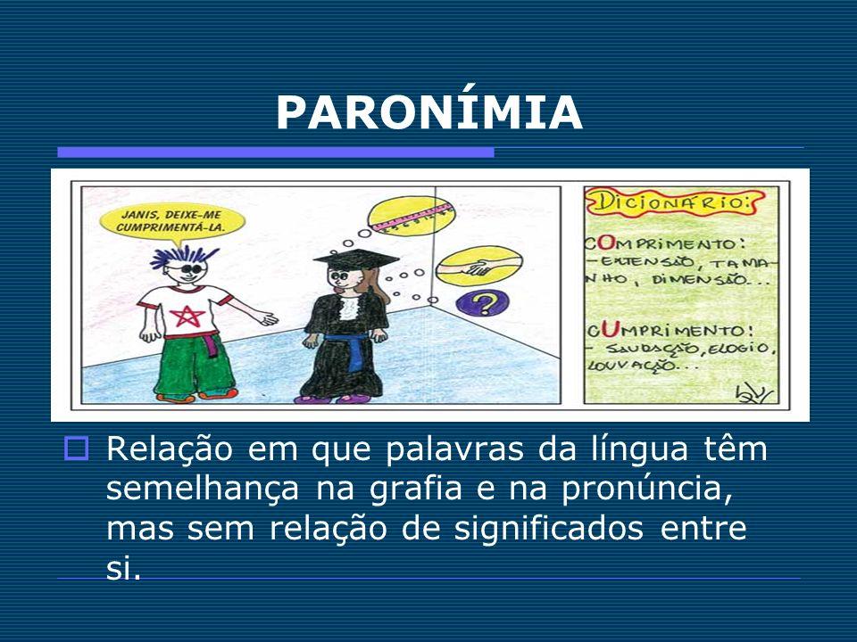 PARONÍMIARelação em que palavras da língua têm semelhança na grafia e na pronúncia, mas sem relação de significados entre si.