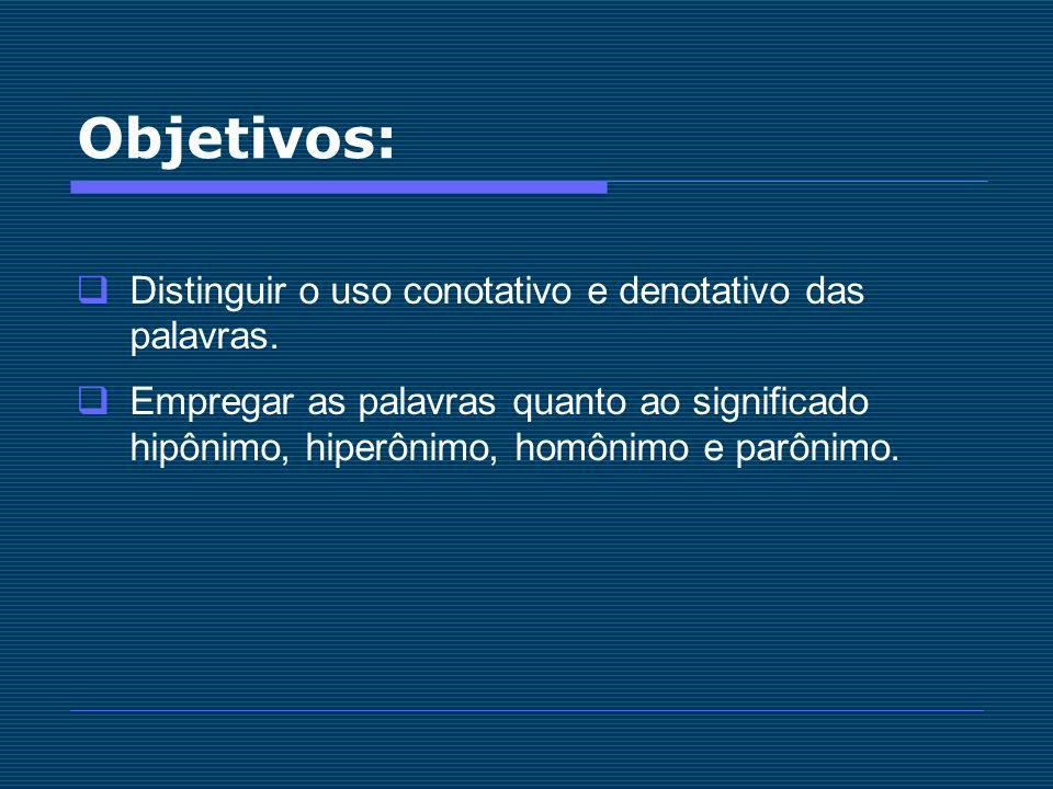 Objetivos: Distinguir o uso conotativo e denotativo das palavras.