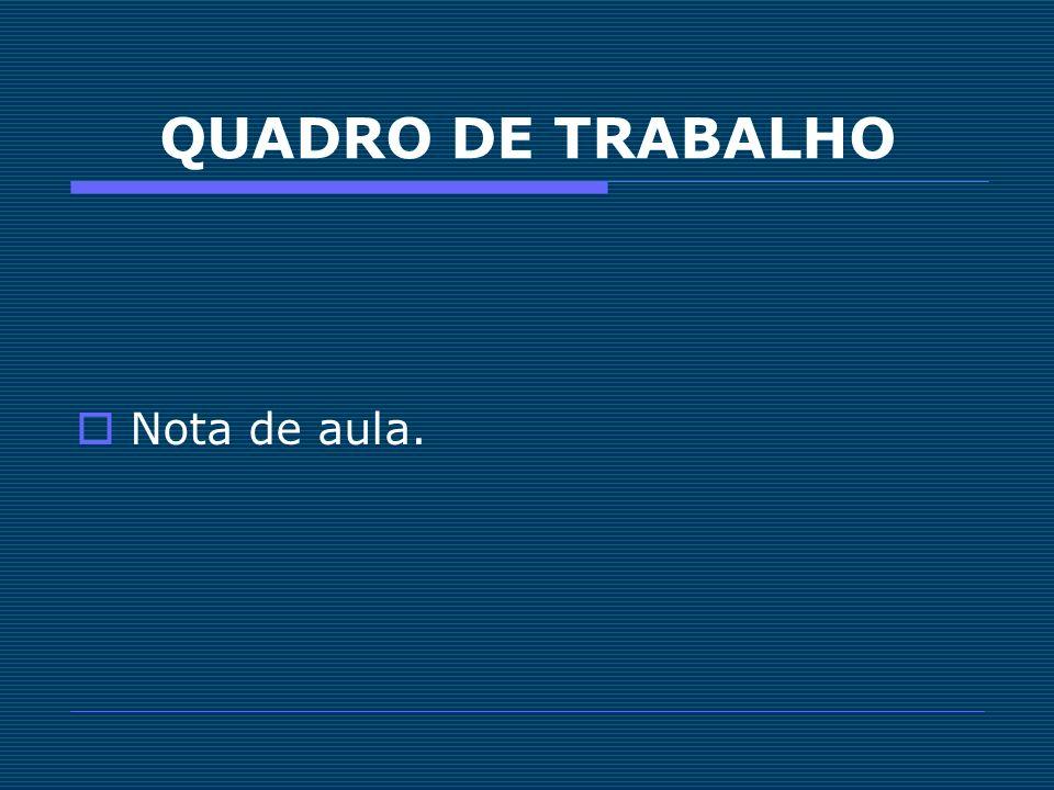 QUADRO DE TRABALHO Nota de aula.