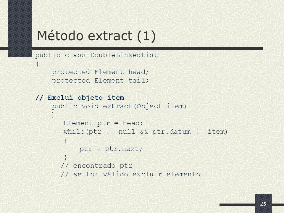 Método extract (1) public class DoubleLinkedList {