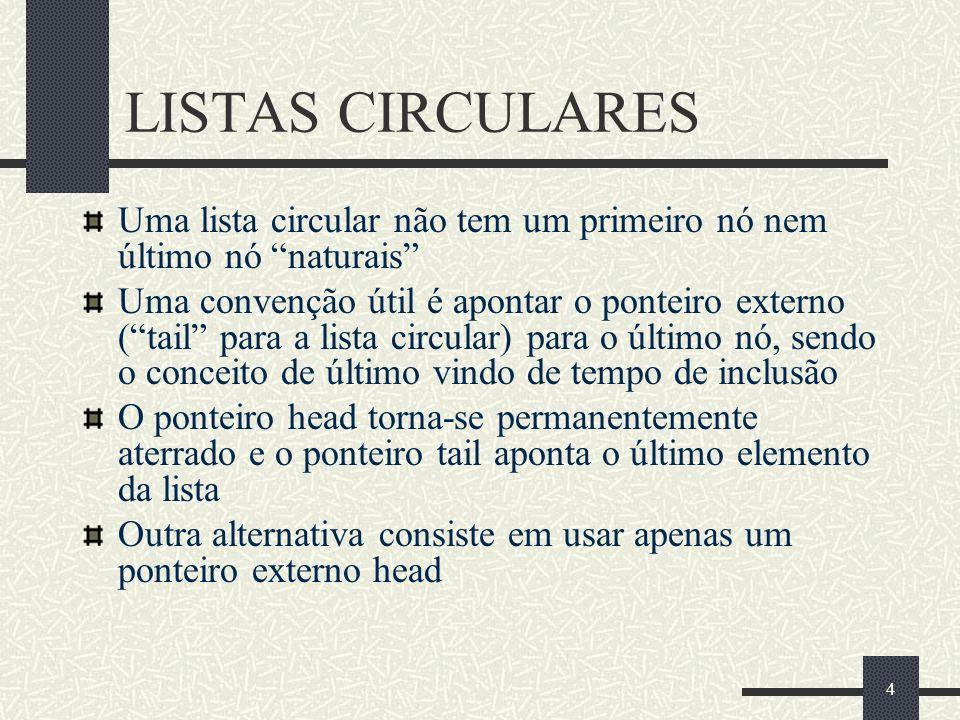 LISTAS CIRCULARESUma lista circular não tem um primeiro nó nem último nó naturais