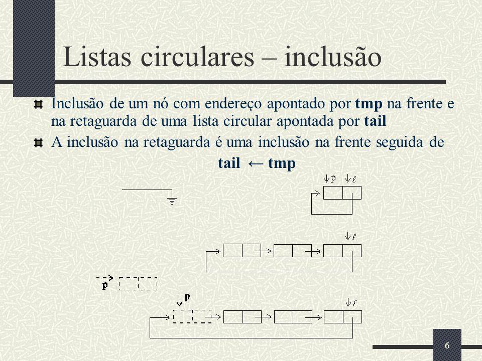 Listas circulares – inclusão