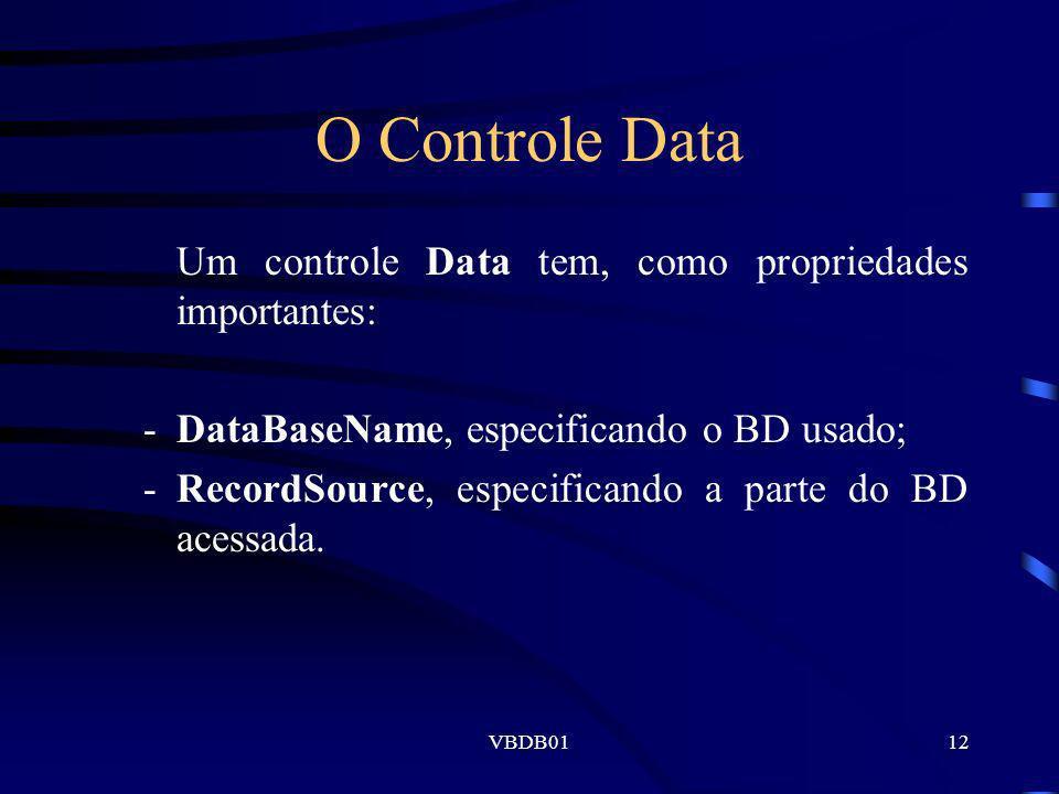 O Controle Data Um controle Data tem, como propriedades importantes: