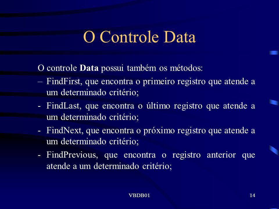 O Controle Data O controle Data possui também os métodos: