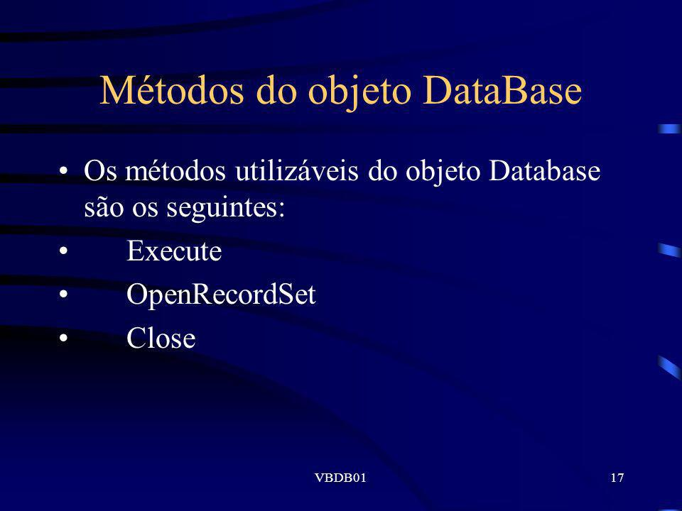 Métodos do objeto DataBase