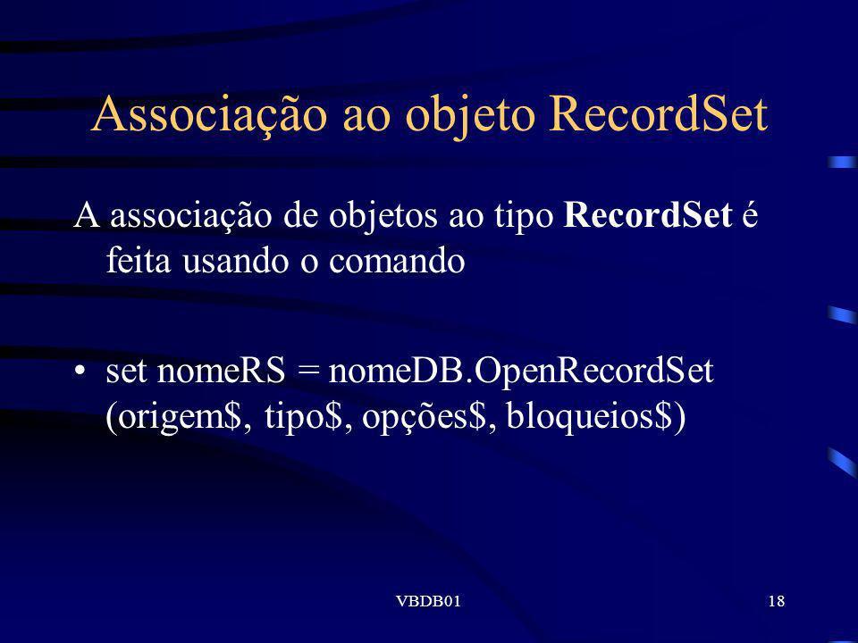 Associação ao objeto RecordSet