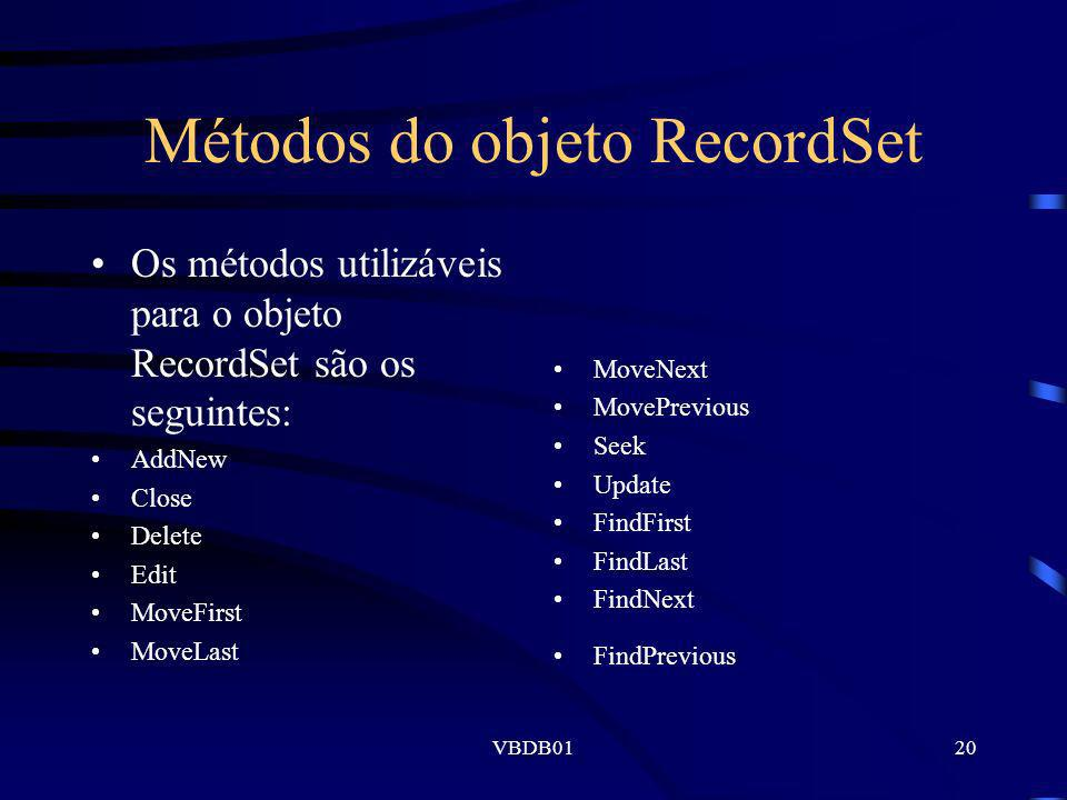 Métodos do objeto RecordSet