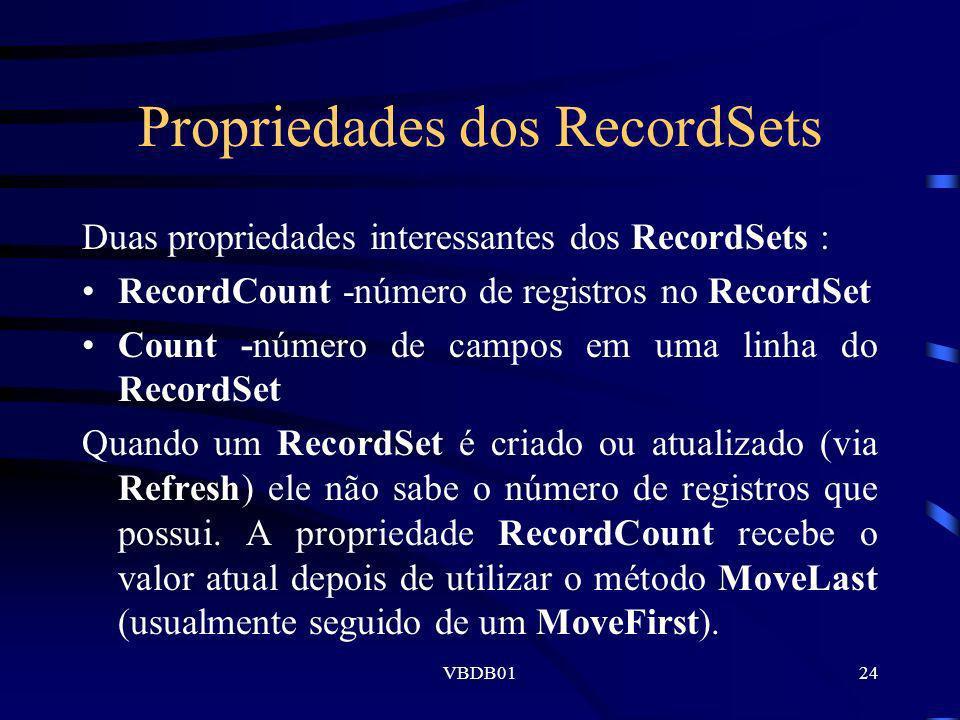 Propriedades dos RecordSets