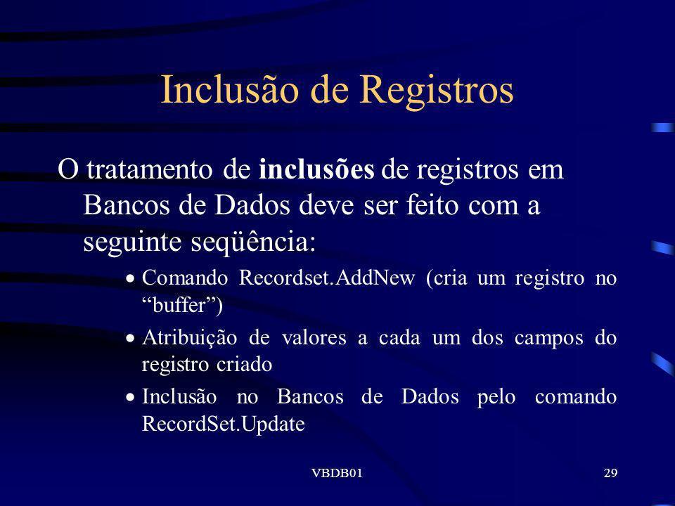 Inclusão de Registros O tratamento de inclusões de registros em Bancos de Dados deve ser feito com a seguinte seqüência: