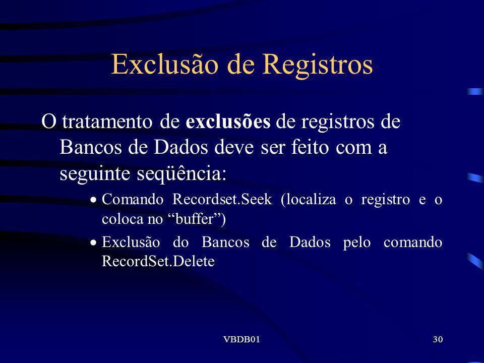 Exclusão de Registros O tratamento de exclusões de registros de Bancos de Dados deve ser feito com a seguinte seqüência: