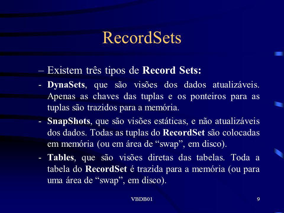 RecordSets Existem três tipos de Record Sets: