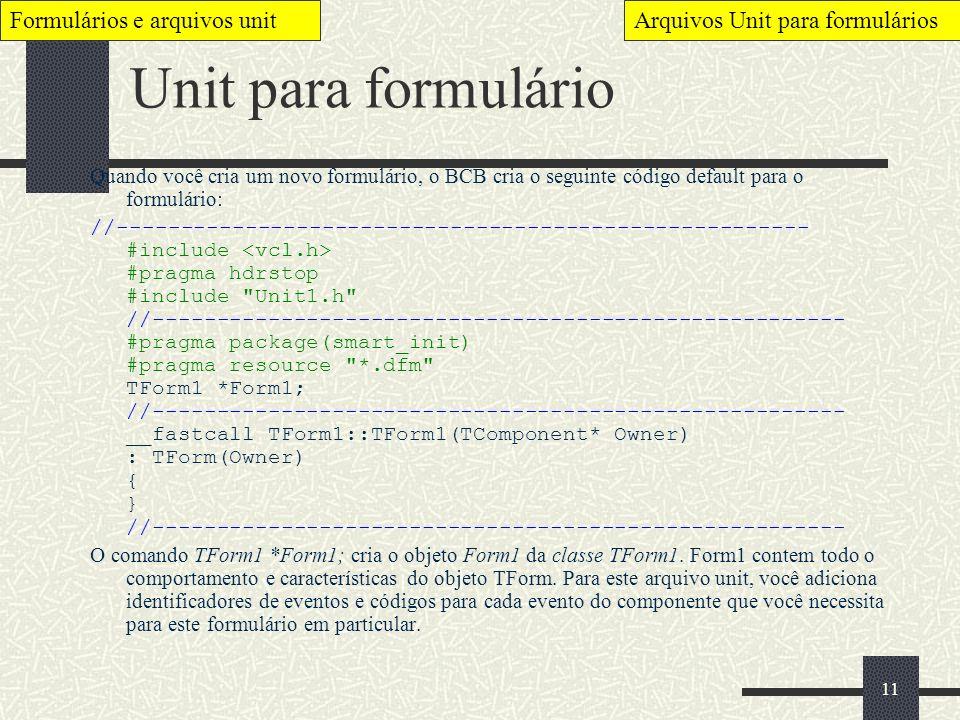 Unit para formulário Formulários e arquivos unit