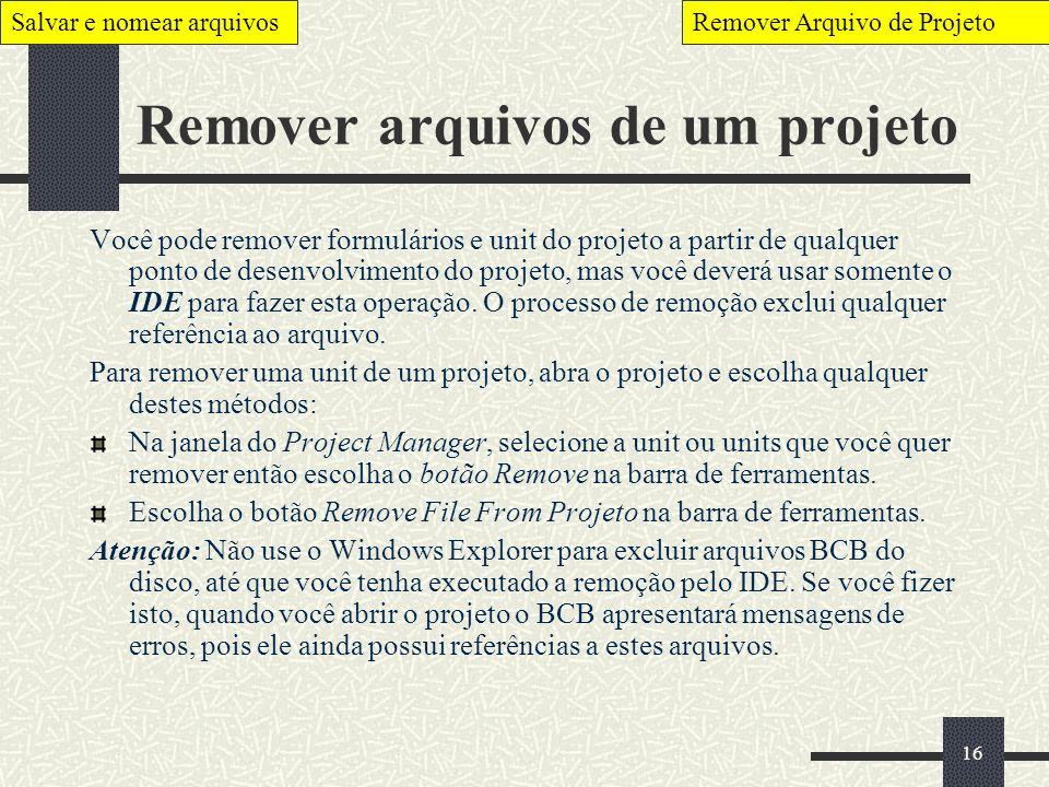 Remover arquivos de um projeto