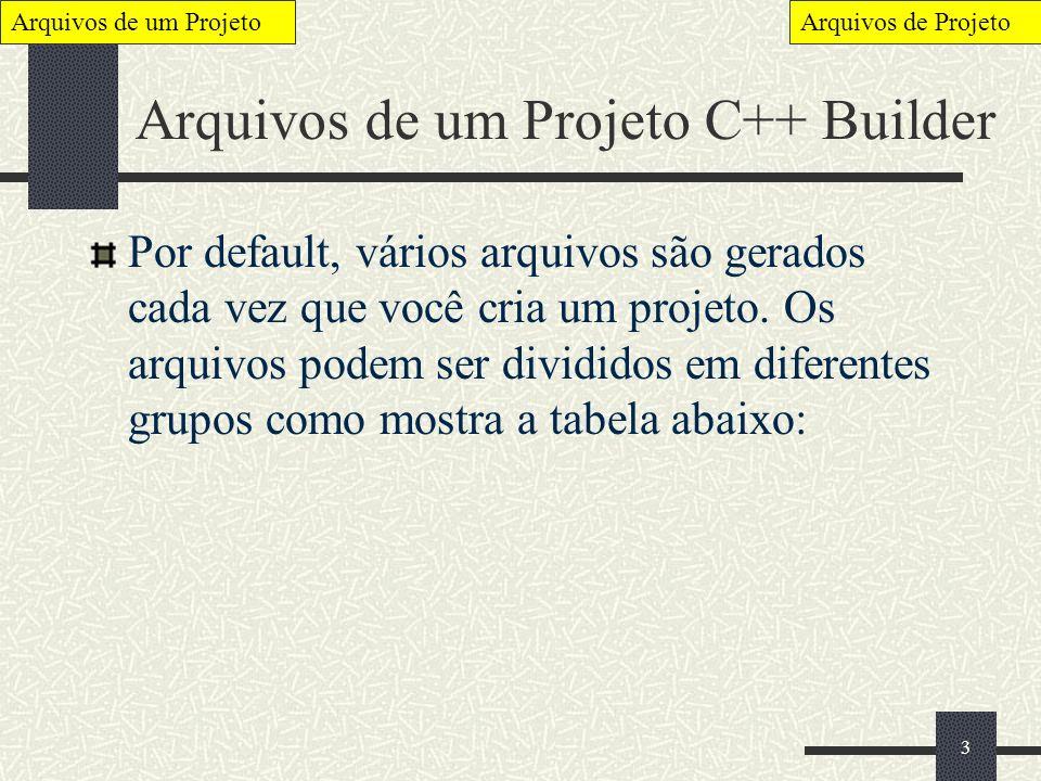 Arquivos de um Projeto C++ Builder