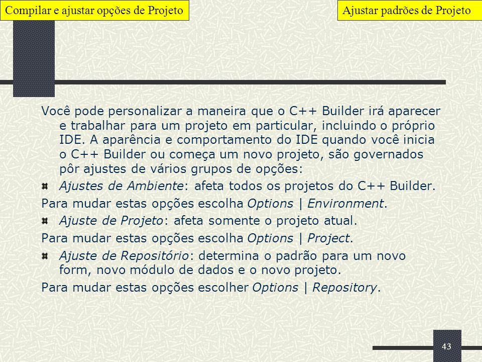 Compilar e ajustar opções de Projeto