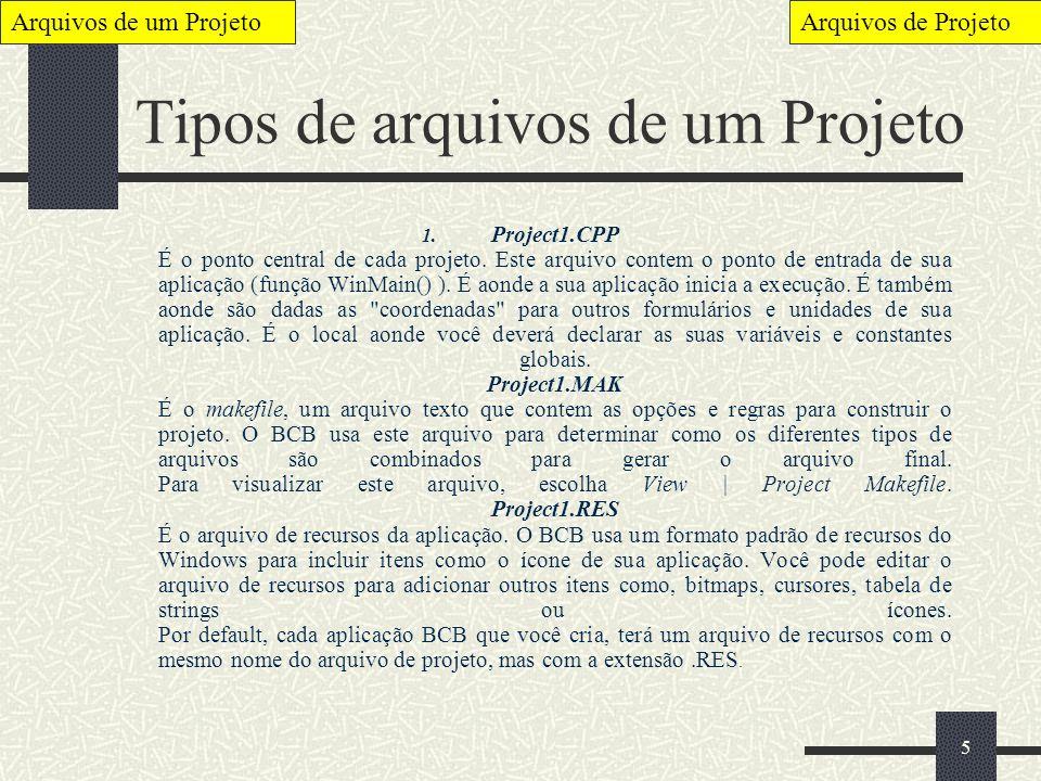 Tipos de arquivos de um Projeto